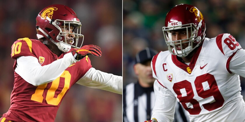 USC linebacker John Houston, left, and defensive end Christian Rector have played valuable roles for the Trojans in 2019.