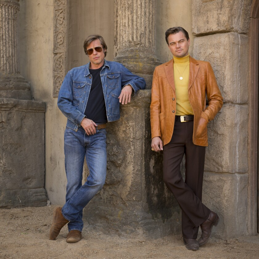 "Brad Pitt, left, and Leonardo DiCaprio in ""Once Upon a Time ... in Hollywood."""