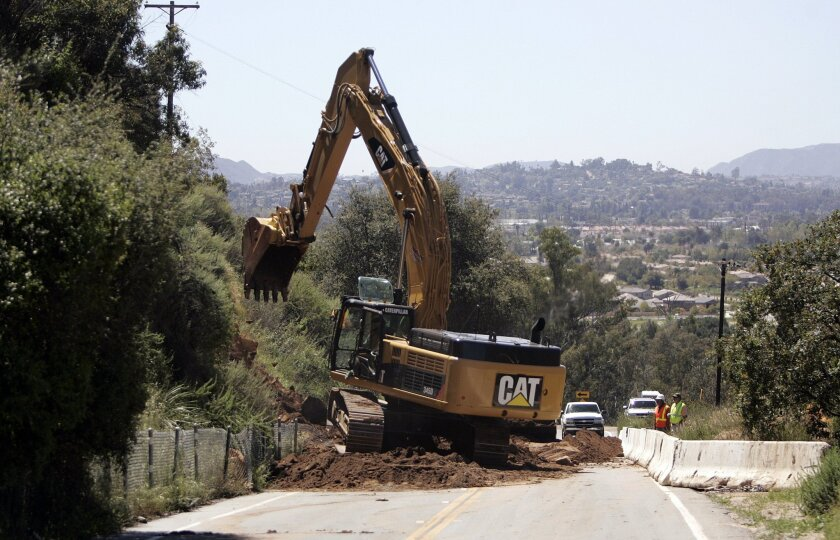 Work continues to shore up the hillside that forced the closure of Lake Wohlford Road. Residents are suffering economically having to head into Valley Center and then turning south to get into Lake Wohlford, instead of coming from Escondido.