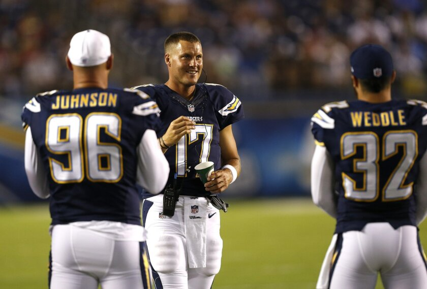 Philip Rivers suits up but doesn't play during the San Diego Chargers final preseason game against the San Francisco 49ers Thursday night at Qualcomm Stadium.
