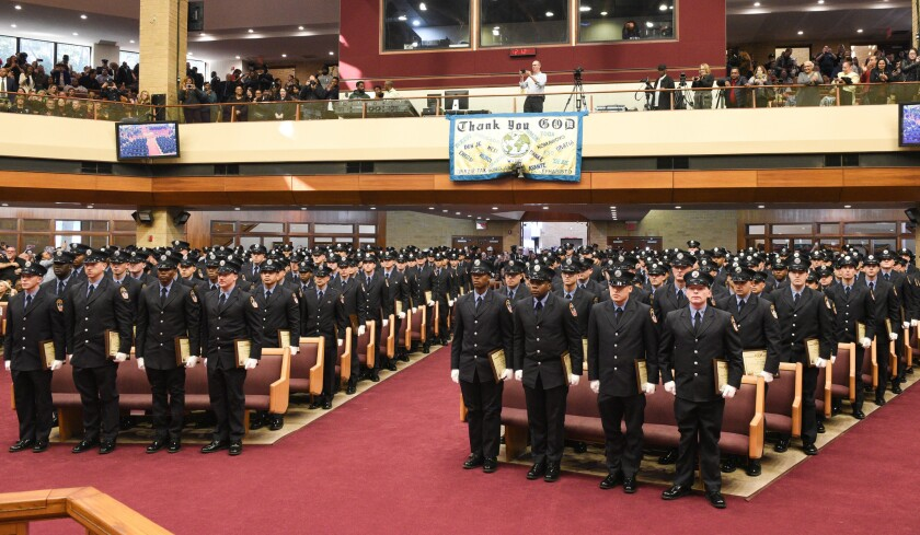 FDNY Firefighter Graduates, Class of 2018, during ceremony at the Greater Allen A.M.E Cathedral, New York, in Jamaica, Queens, Friday, October 19, 2018.