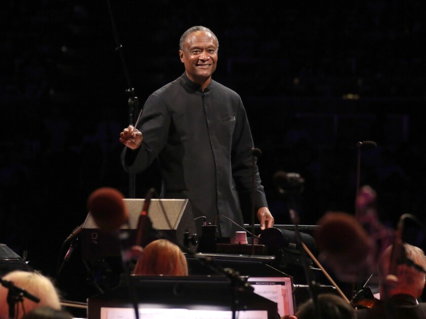 Conductor Thomas Wilkins and the Hollywood Bowl Orchestra.