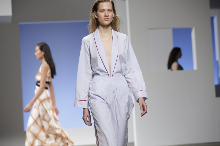 Models present creations by Thakoon during his spring 2016 collection at New York Fashion Week.