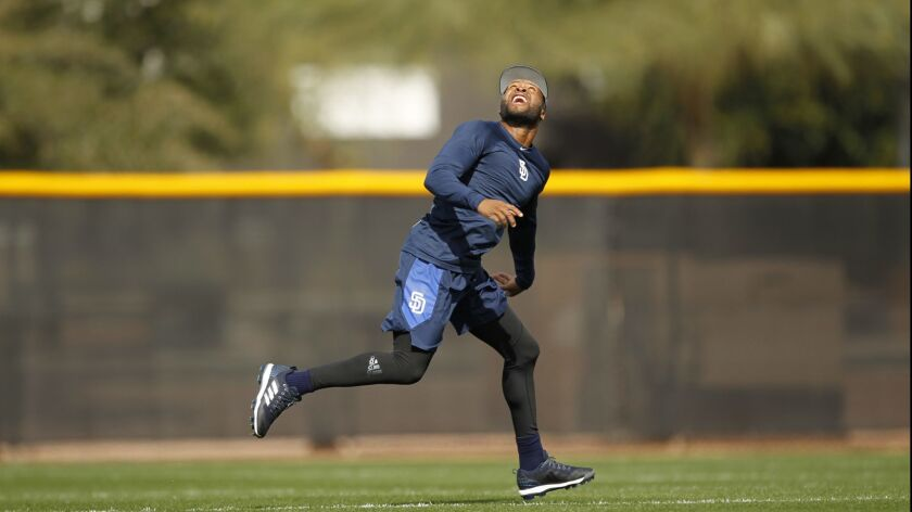 Manuel Margot works during a drill early in spring training.