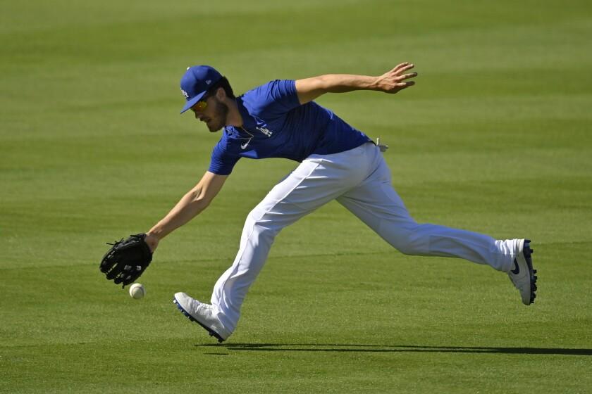 Los Angeles Dodgers center fielder Cody Bellinger fields a ball during the restart of baseball spring training Friday, July 3, 2020, in Los Angeles. (AP Photo/Mark J. Terrill)