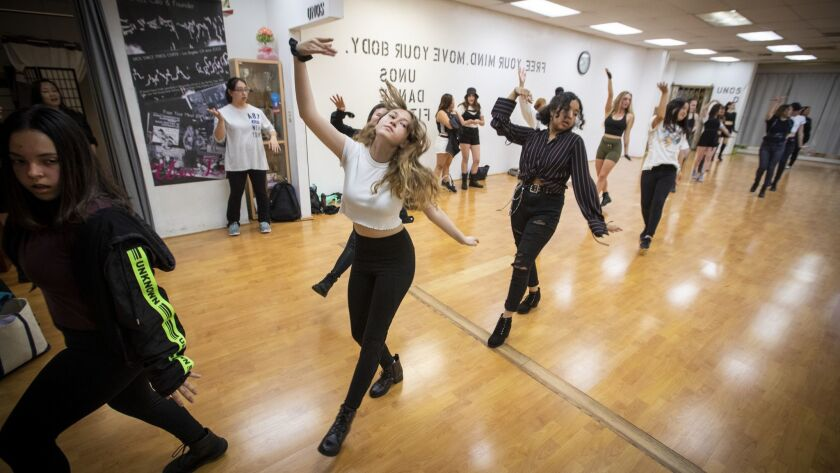 LOS ANGELES, CALIF. -- THURSDAY, JUNE 6, 2019: Dancers practice their moves during a K-Pop dance cl