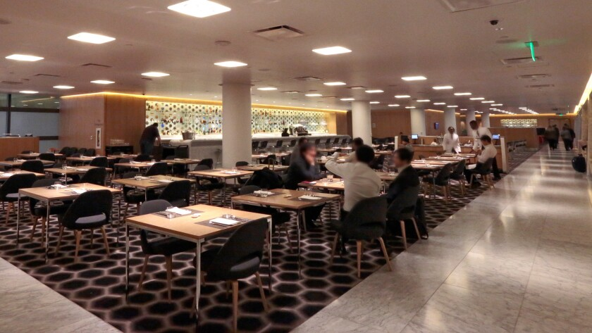 The first-class lounge for Qantas Airlines opened in December in the Tom Bradley International Terminal at LAX. The design echoes lounges designed by Marc Newson in Sydney and Melbourne. The dining area is shown here.