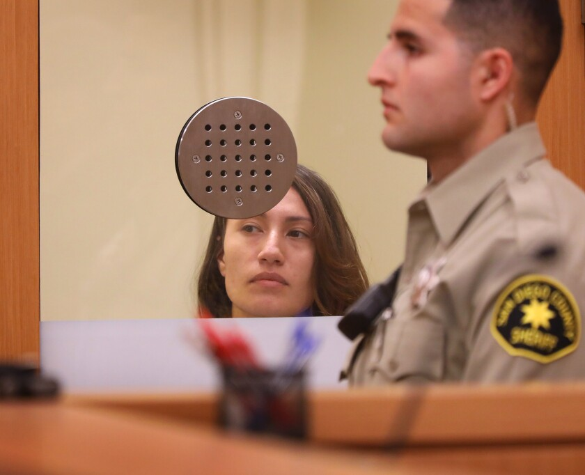 Anna Conkey was arraigned Wednesday in San Diego Superior Court on numerous charges stemming from her allegedly threatening to shoot church goers and blow up Tsidkenu Church in Clairemont, during Easter Sunday services.