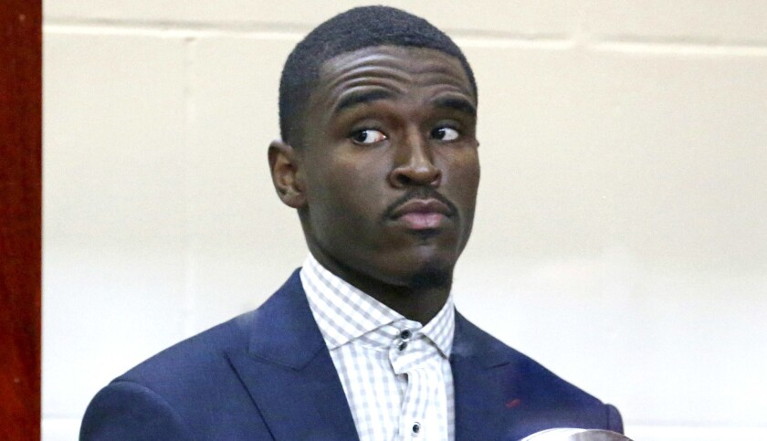 Boston Celtics guard Jabari Bird appears for his arraignment on domestic violence charges at Brighto