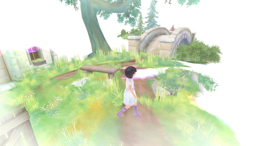 """In """"Beyond Eyes,"""" a young blind girl goes searching for a missing cat. As the main character walks, the watercolor-like world gradually reveals itself, as environments are triggered by sound and touch."""