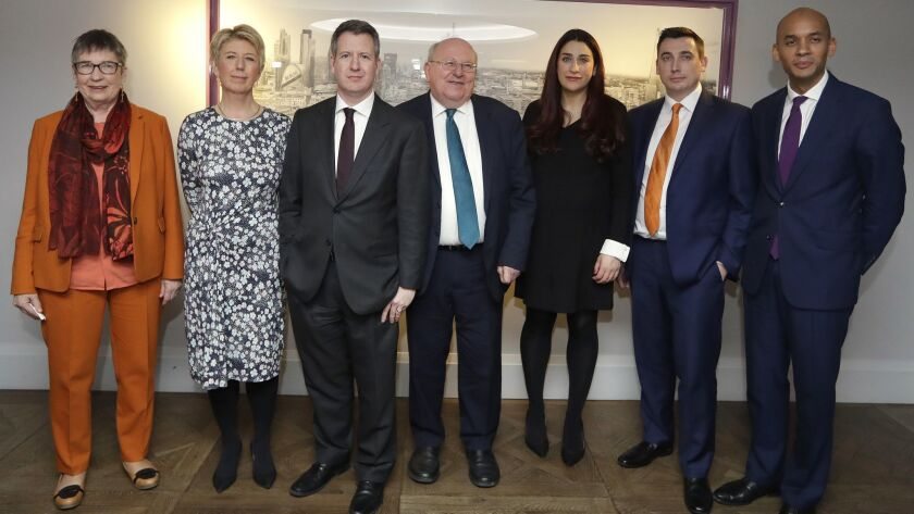 Seven MPs from left, Ann Coffey, Angela Smith, Chris Leslie, Mike Gapes, Luciana Berger, Gavin Shuke