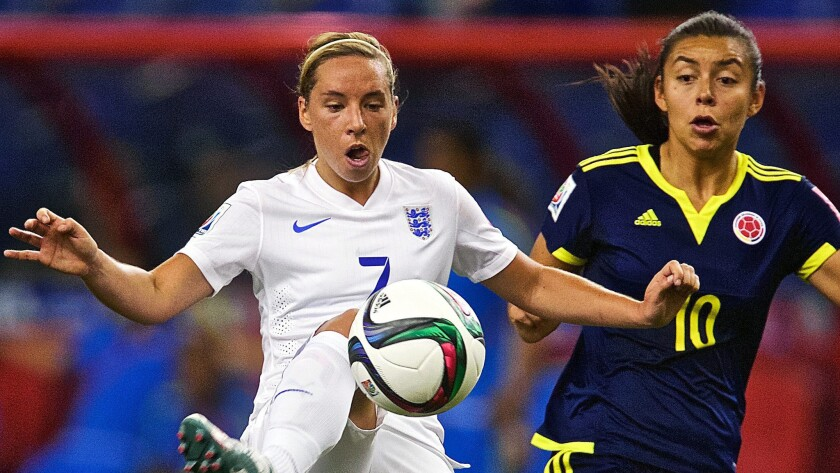 England's Jordan Nobbs, left, battles Colombia's Yoreli Rincon for the ball during a Group F match at the women's World Cup in Montreal, Canada, on Wednesday.