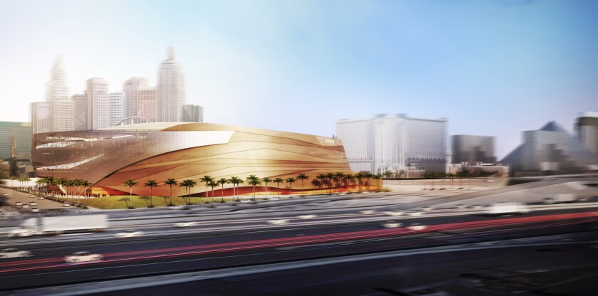 Planned design of a $350-million sports and entertainment arena set to be built on the Las Vegas Strip.