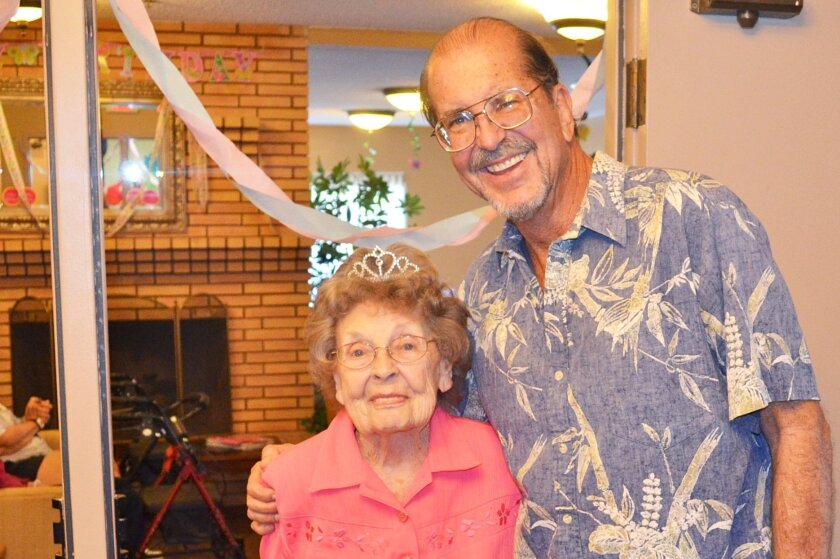 Edna Horman and son Steve Horman at her 100th birthday celebration on March 31 at Atria Encinitas.
