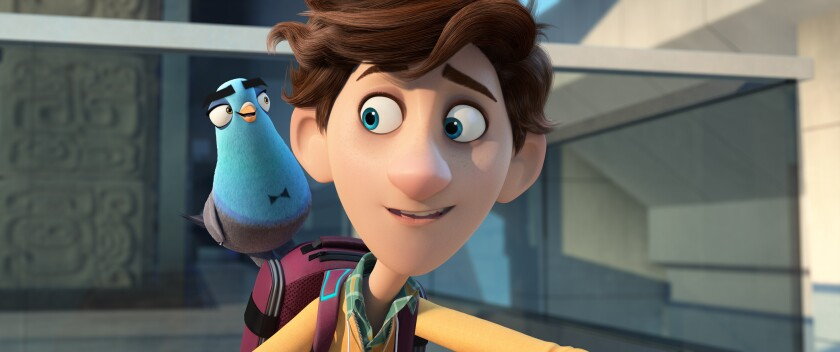 """A scene from the animated film """"Spies in Disguise"""" with a pigeon with a bow-tie marking perched on a young man's backpack."""