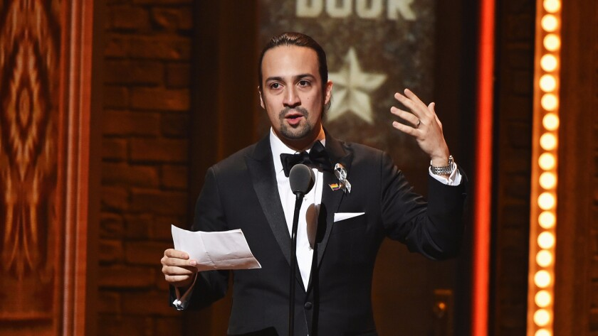 "Liz-Manuel Miranda is shown after winning the Tony for original score for ""Hamilton."""