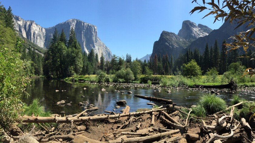 YOSEMITE VALLEY CA AUGUST 13, 2016 -- The Merced River runs through the Yosemite Valley on August
