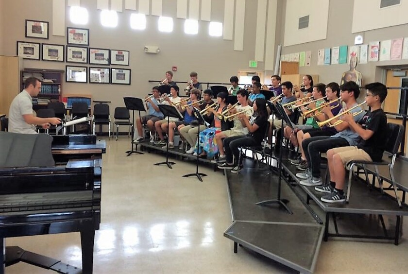 Tim Saeger coaches the trumpet section at Westview High School in Rancho Penasquitos.