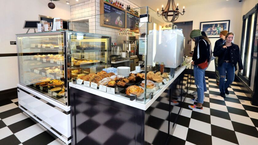 A pastry display case in the lobby of the Saint Tropez Bistro & Beyond, which is in an old Victorian home on South Coast Highway in Oceanside.