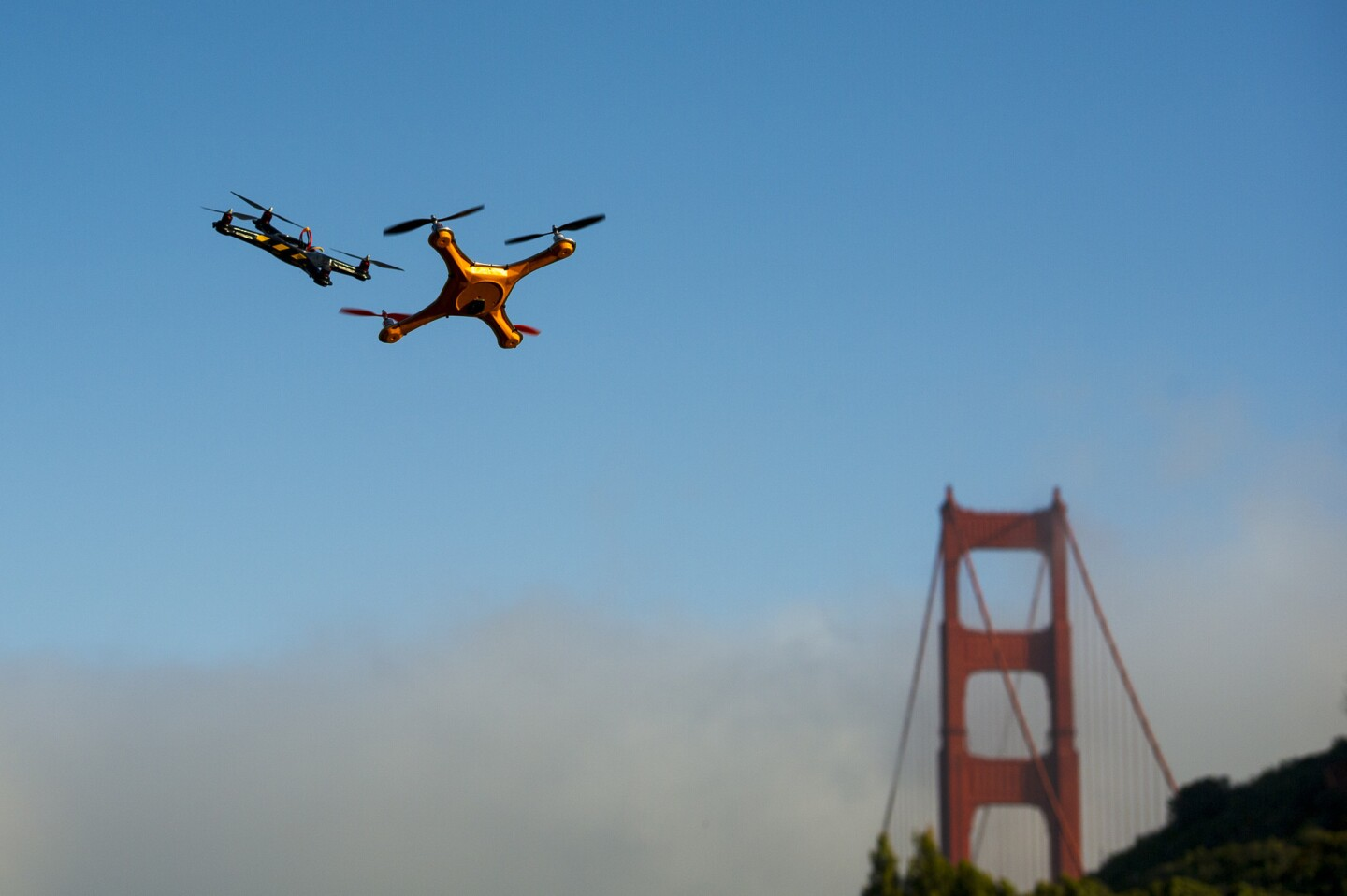 Drones fly during a battle demonstration at the Bloomberg Next Big Thing Summit in Sausalito on June 9.