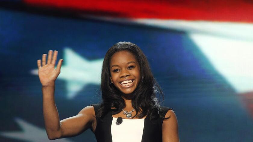 Olympic gold medalist Gabby Douglas appears at the Democratic National Convention in 2012.
