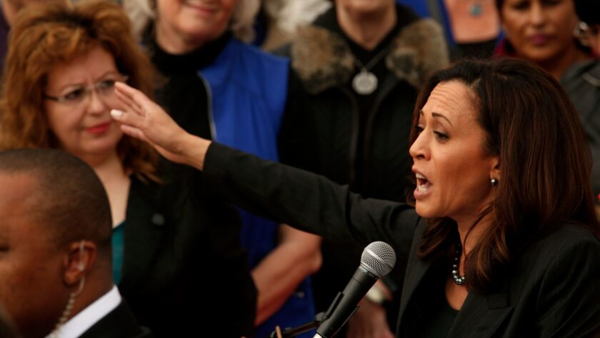 U.S. Senator Kamala Harris speaks at a rally to protest the national effort by Republican lawmakers to rescind the Affordable Care Act outside Los Angeles County/USC Medical Center in Los Angeles on January 15.
