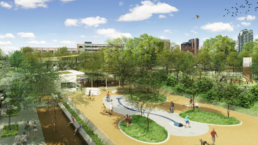 """Two dog parks, one for small, separated by a """"Bark Bar,"""" are among many features in East Village Green."""