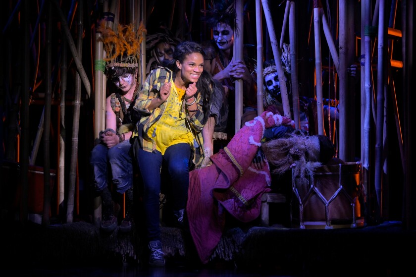 """Storm Lever as Wendy with the Lost Boys in La Jolla Playhouse's """"Fly."""""""