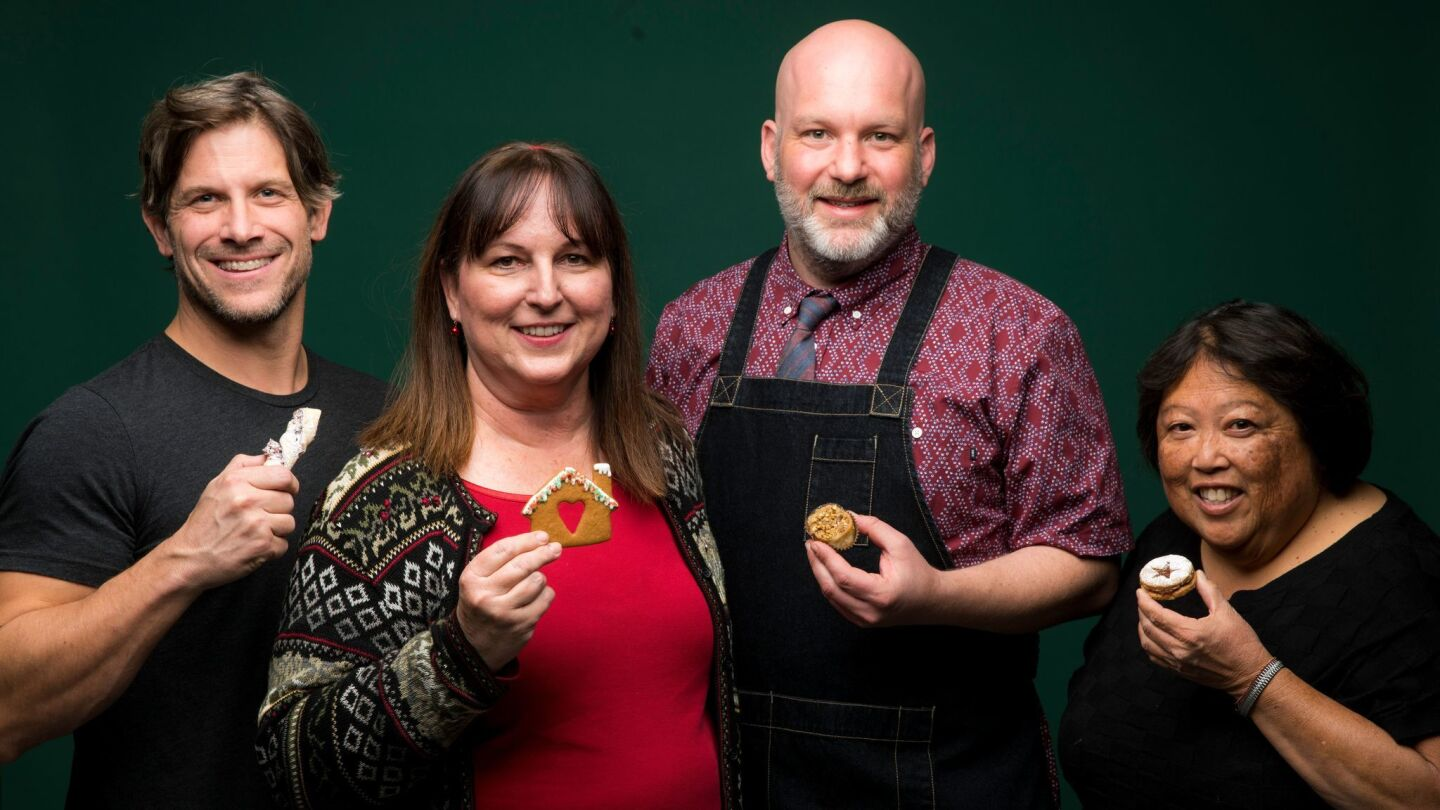 Katie Rodgers, Dan Guerrera, Scott Cronick and Alice Nishimoto, photographed with their creations.