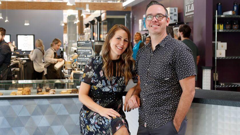 Owners Christa Duggan and husband Jeff Duggan run Portola Coffee Lab, located inside the OC Mix buil