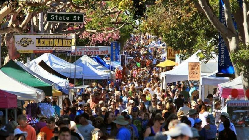View looking west down crowded Grand Avenue at the Carlsbad Village Faire. (UT San Diego/Zuma Press)