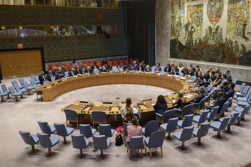 Fotografía cedida por la ONU donde aparece el pleno del Consejo de Seguridad durante su reunión mensual sobre el conflicto palestino-israelí celebrado hoy, miércoles 22 de agosto de 2018, en la sede del organismo en Nueva York (EE.UU.). La ONU urgió hoy a Israel y al movimiento islamista Hamás a garantizar la entrada de ayuda humanitaria a Gaza y defendió que ésta no puede ser rehén de cuestiones políticas o de seguridad. EFE/Loey Felipe/ONU/SOLO USO EDITORIAL/NO VENTAS