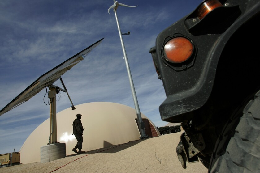 The armed forces are increasing their use of renewable-energy projects to cut down on power bills.