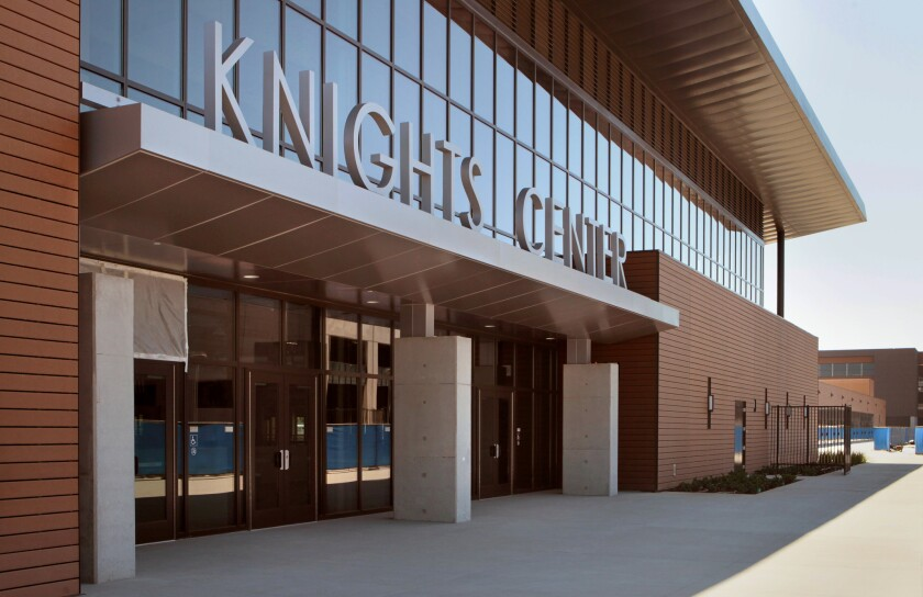 View of the front of the recently completed Knights Center gymnasium building at San Marcos High School.