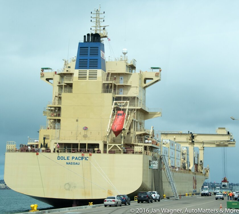Dole ship unloading containers