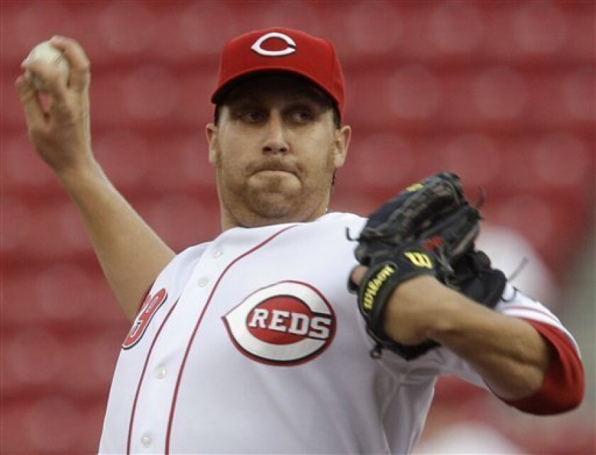 Cincinnati Reds starting pitcher Aaron Harang throws against the San Francisco Giants in the second inning of a baseball game, Wednesday, June 9, 2010, in Cincinnati. (AP Photo/Al Behrman)