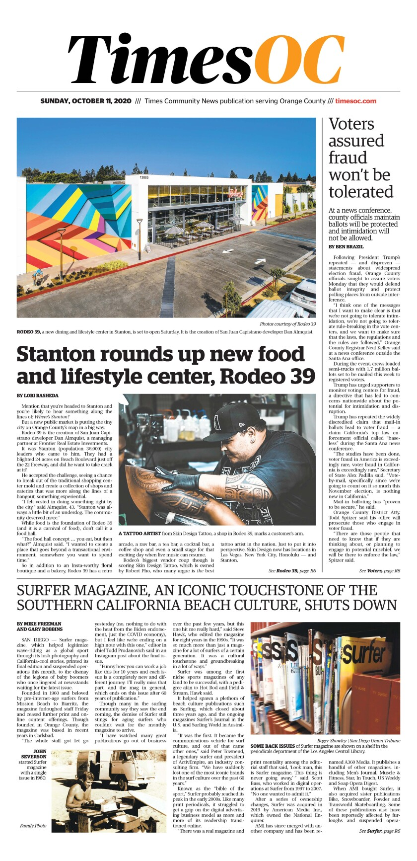 Front page of Times OC e-Newspaper for Sunday, Oct. 11, 2020