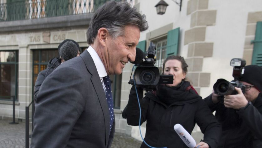 Head of the track federation Sebastian Coe, shown March 25 in Lausanne, Switzerland, says the rare DSD condition constitutes an unfair advantage in the sport.