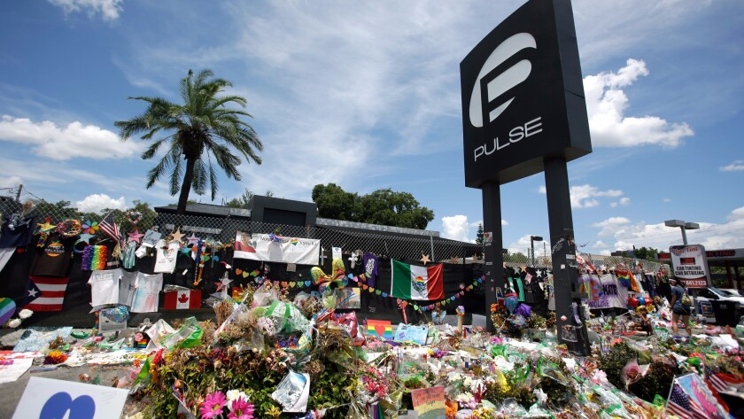 A makeshift memorial outside the Pulse nightclub in Orlando, Fla.