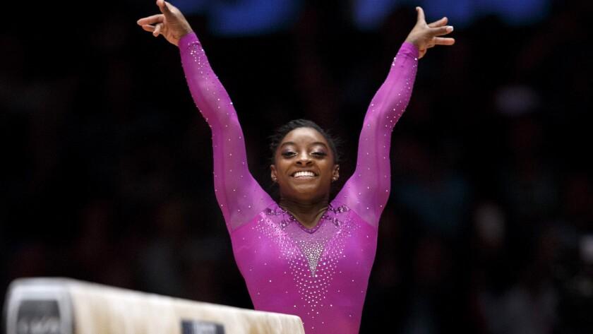 Simone biles wins record 10th gold at world gymnastics championships los angeles times - Simone biles pics ...