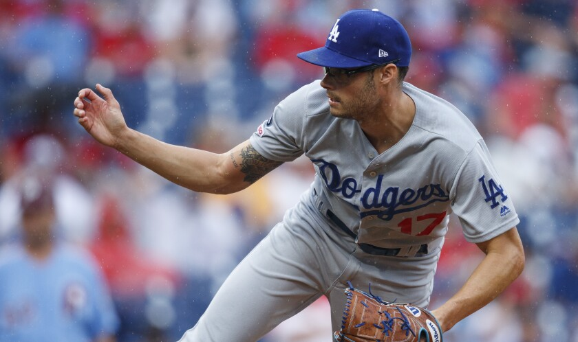 Dodgers reliever Joe Kelly delivers during a 7-6 loss to the Philadelphia Phillies on Thursday.