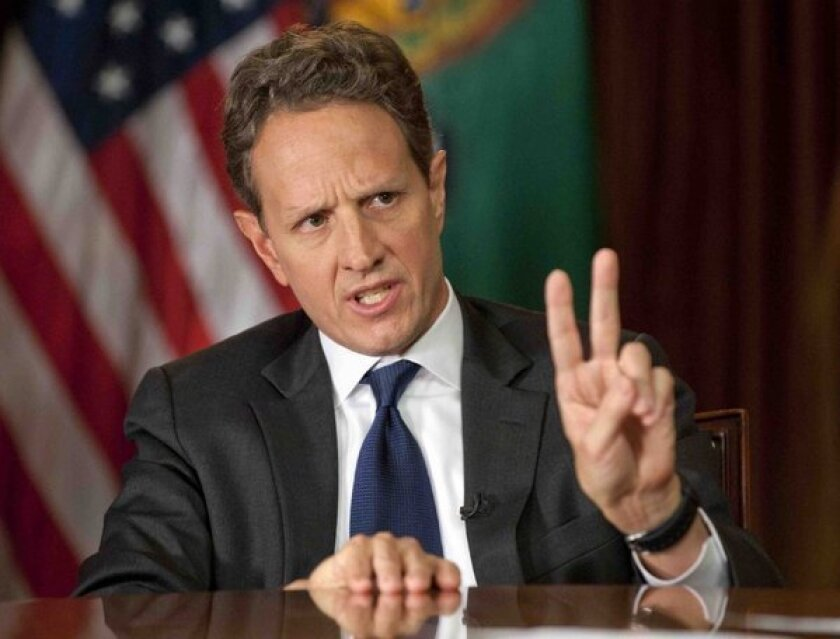 """Treasury Secretary Timothy Geithner answers questions about the """"fiscal cliff"""" on the CBS News program """"Face the Nation"""" on Dec. 2."""