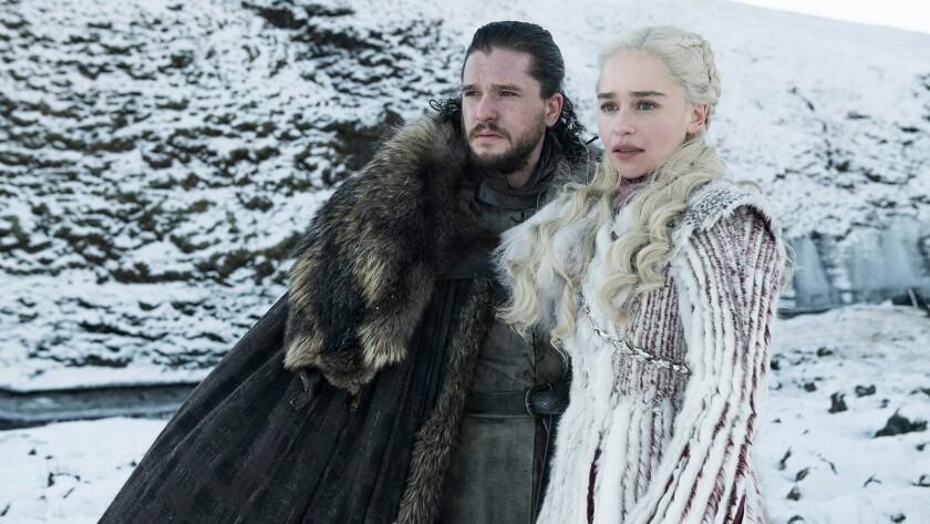 Season 8: Kit Harington (Jon Snow), Emilia Clarke (Daenerys Targaryen) on GAME OF THRONES. photo: He