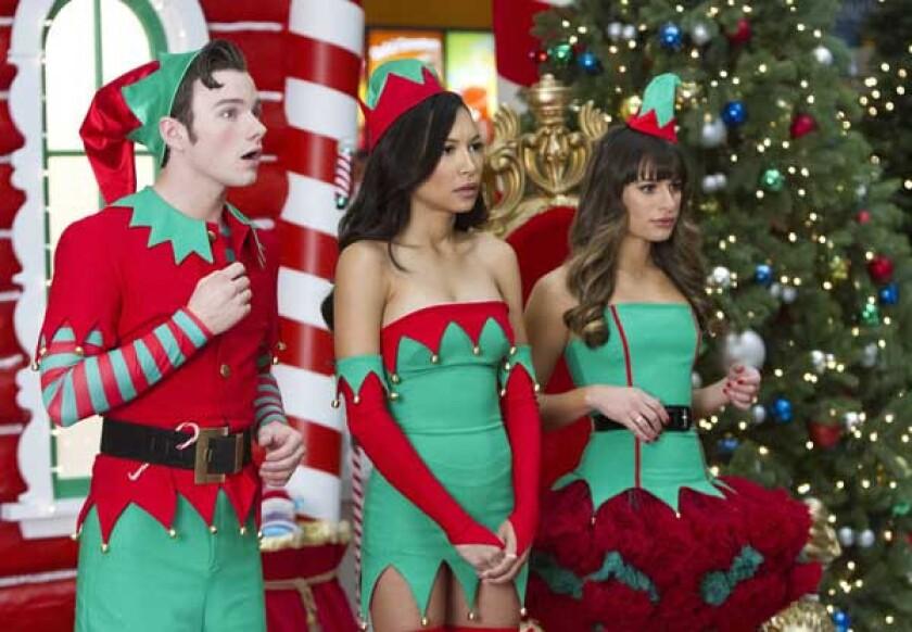 "Chris Colfer, left, Naya Rivera and Lea Michele in ""Glee"" on Fox."