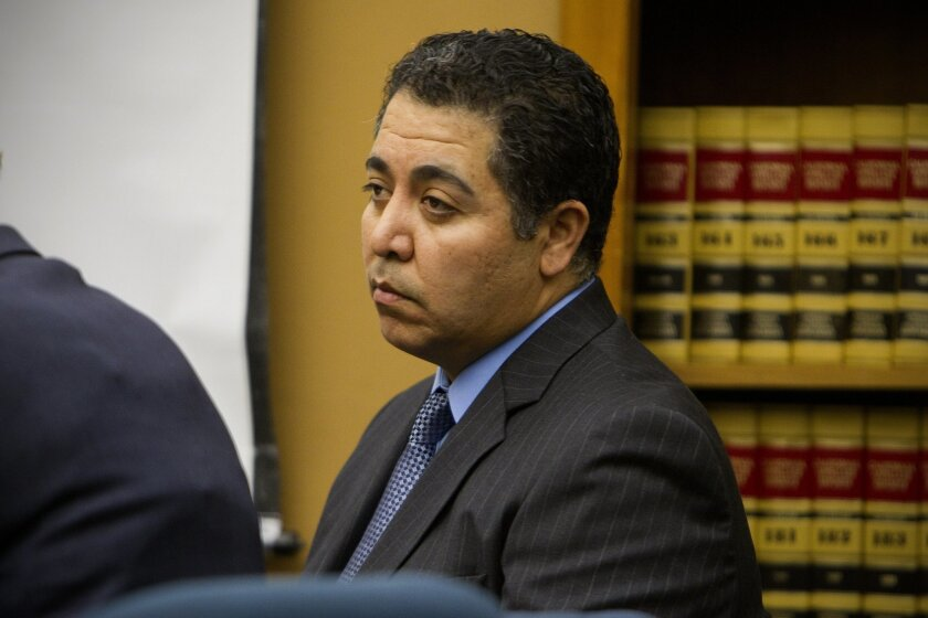 Anthony Arevalos looks at the jury during the reading of his verdict in 2011.  Arevalos who had been on the police force 18 years, was convicted of seeking sexual favors from women he stopped for DUI.