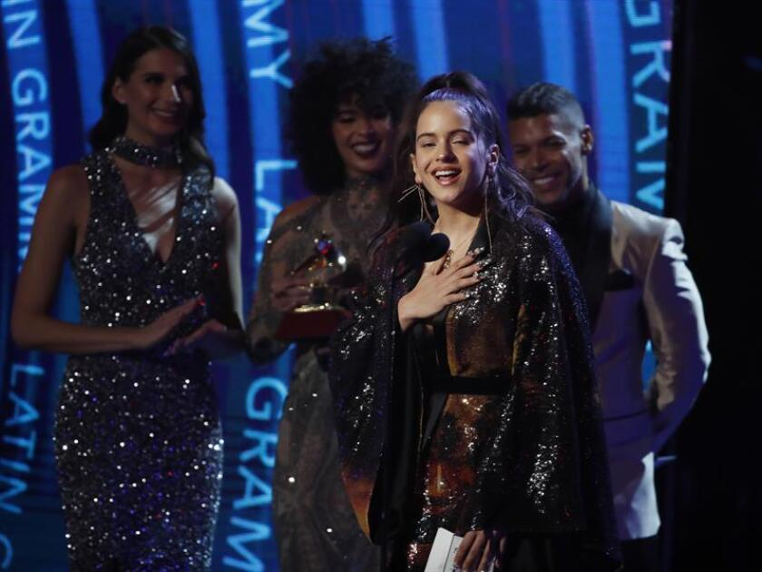 epa07168568 Rosalia wins for Best Fusion/Urban Interpretation during the 19th Annual Latin Grammy Awards ceremony at the MGM Grand Garden Arena in Las Vegas, Nevada, USA, 15 November 2018. The Latin Grammy Awards recognize artistic and/or technical achievement, not sales figures or chart positions, and the winners are determined by the votes of their peers, the qualified voting members of the academy. EPA/MIKE NELSON