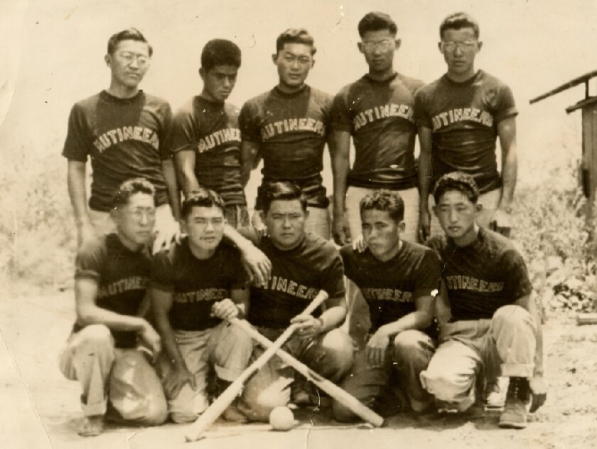 Sando Shinmoto (top left) was on Poston internment camp's recreational baseball team in 1943.