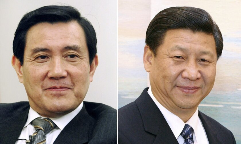 FILE - This combination of file photos show Taiwan's President Ma Ying-jeou, left, and China's President Xi Jinping. Taiwan's Ma and China's Xi are the first leaders from the two sides to meet since their territories split during the Chinese civil war in 1949. Ma is the successor to Chiang Kai-shek