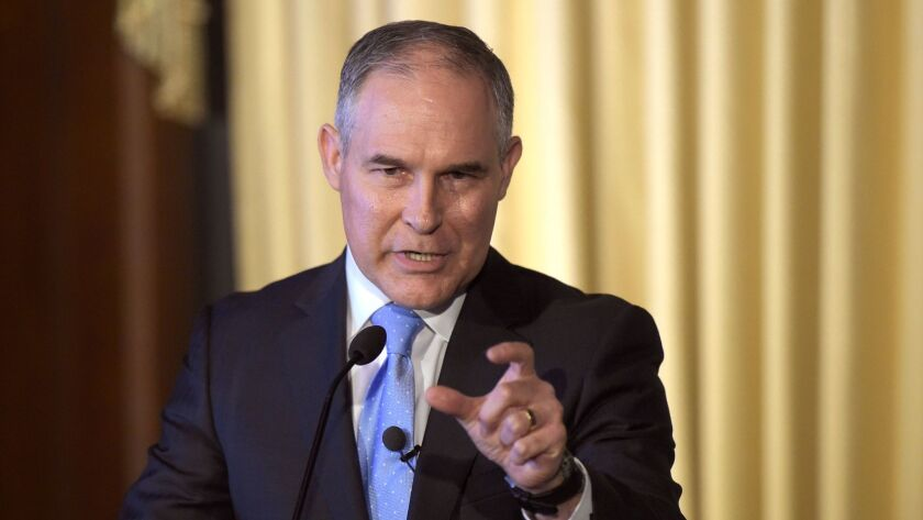 EPA Administrator Scott Pruitt, during an appearance before his agency's workforce in February. EPA web pages that contradict his climate denialism are being systematically removed.