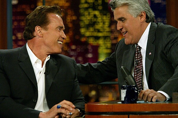 """Arnold Schwarzenegger declared his candidacy for governor of California to Jay Leno on the """"Tonight Show"""" in 2003."""